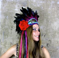 Frida Vibrant feather headdress by Hapuska on Etsy, £149.00