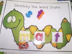 FREEBIE! Stretchy the Word Snake mat. Build words in the boxes and use the little cars (look closely under the letter m and you will see one) to drive slowly as we say each sound.  They we drive our cars faster as we blend the word together.  The kids love this activity.  Note:  if you are building a word like ship...the digraph /sh/ goes in one box because it makes one sound.  Once we've done this lesson several times I place the...