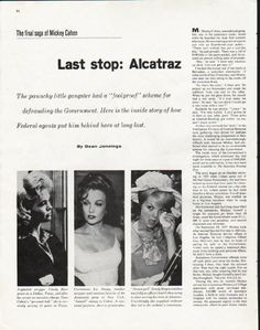 "1963 MICKEY COHEN vintage magazine article ""Alcatraz"" ~ Last stop: Alcatraz - The final saga of Mickey Cohen - The paunchy little gangster had a ""foolproof"" scheme for defrauding the Government. Here is the inside story of how Federal agents put him ..."