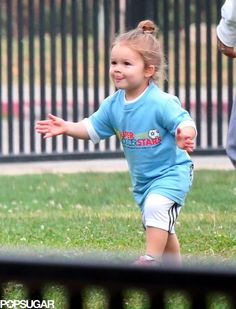 Exclusive Photos Prove Harper Beckham Is the Cutest Soccer Player: Harper Beckham celebrated after scoring a goal in front of her family.