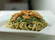 Špagety so špenátom a kuracím mäsom | Bonviváni Spaghetti, Healthy Recipes, Healthy Food, Pasta, Fish, Meat, Ethnic Recipes, Fitness, Healthy Foods
