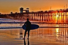 Photographed by Alan Crosthwaite, the Oceanside Pier Sunset, California wall mural from Murals Your Way will add a distinctive touch to any room. Choose a pre-set size, or customize to your wall. Oceanside Pier, Oceanside California, California Sunset, Beach Wall Murals, Murals Your Way, Best Weekend Getaways, Road Trip Packing, Orange Sky, Las Vegas Trip