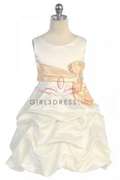 Ivory/Champagne Sleeveless Bridal Satin Pick-up Skirt Flower Girl Dress - also really cute, hopefully could do a burgundy sash.