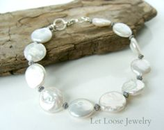White Coin Pearl & Green Gemstone Bracelet by TransfigurationsJlry
