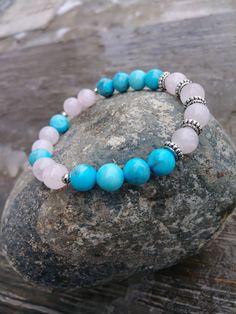 Rose Quartz Bracelet, Turquoise Bracelet, Gemstone Bracelet, Healing Bracelet, Love Bracelet, Stone Bracelet, Pink Bracelet, Blue Bracelet by PurpleMoonJewelryCA on Etsy