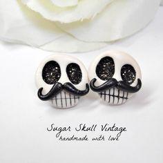 Sugar Skull Earrings- Mustache Earrings - Perfect Day of the Dead Earrings for her - Hand sculpted - 100% unique earrings