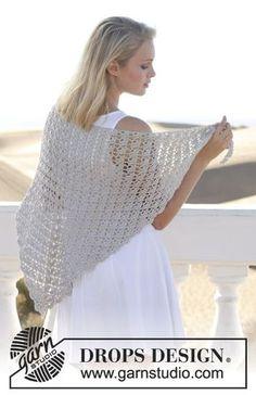 "Forget Me Knot - Virkattu DROPS viuhkakuvioinen huivi ""Cotton Viscose"" -langasta. - Free pattern by DROPS Design Crochet Diy, Cardigan Au Crochet, Beau Crochet, Gilet Crochet, Crochet Woman, Simple Crochet, Crochet Shawls And Wraps, Crochet Scarves, Crochet Clothes"