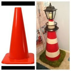 When we redid our bathroom in January I needed something to cover the ugly toilet plunger. Using a few things around the house I was able to transition a simple safety cone into this Lighthouse toilet plunger cover. - Home Decor Diy Cheap Lighthouse Bathroom, Clay Pot Lighthouse, Lighthouse Decor, Solar Lighthouse, Seashell Crafts, Beach Crafts, Fun Crafts, Flower Pot Crafts, Clay Pot Crafts