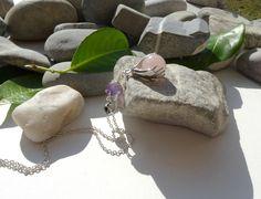 Sautoir améthyste,quartz rose,bohème chic,protection,apaisement,sérénité,paix intérieure,gestion du stress : Autres bijoux par lapassiondisabelle