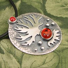 """Tree pendant """"Autumn Heart of the Oak"""" - sterling with Amber and Red Jasper stones - OOAK by marybird on Etsy"""