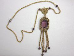 Goldette Tassel Necklace Victorian Revival  Purple by COBAYLEY