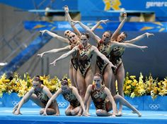 Team Russia performs their routine during the Synchronized Swimming team final at the London 2012 Olympic Games at Aquatics Centre. Rob Schumacher, USA TODAY Sports, Aug. 10, 2012