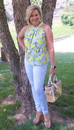 50 IS NOT OLD | WHEN LIFE GIVES YOU LEMONS | FASHION OVER 40 | Prints | Halter top | Top with bow | Fashion over 40 for the everyday woman