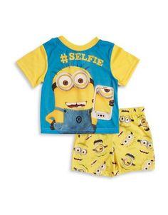 Ame Sleepwear Minion Tee and Shorts Pajama Set  Yellow 4T