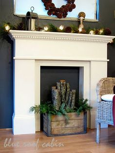 faux mantle - could be neat in a master bedroom for a seating area, maybe put a bunch of candles/candle holders in front of it to give it a nice glow like a fireplace would.