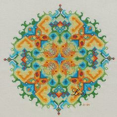 SPRING - Mandala cross-stitch pattern; for DMC 6 strand floss, 10 different colours, 14 st p/inch makes it 11 inch diameter