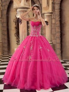 Pink Sparkly Sweet 16 Dresses | Hot Pink And Black Quinceanera Dresses Owfnpgv