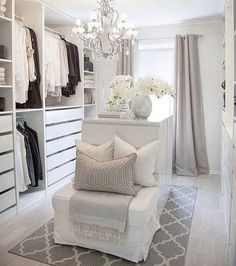 35 Best Walk in Closet Ideas and Picture Your Master Bedroom is part of Dressing room closet - Looking for some fresh ideas to remodel your closet Visit our gallery of leading best walk in closet design ideas and pictures Dressing Room Decor, Dressing Room Closet, Dressing Room Design, Dressing Rooms, Walk In Closet Design, Closet Designs, Sala Glam, Wardrobe Room, Ikea Walk In Wardrobe