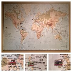 New Ikea Premiar World Map Picture with Frame/canvas Large 55 X 78 ...