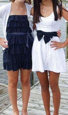 Love the white dress navy blue gives lots of style