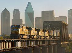 Union Pacific Trinity River Crossing; Dallas, TX  A Union Pacific intermodal train crosses the Trinity River as it leaves Dallas