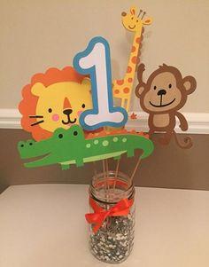 Safari themed centerpiece safari birthday by PartyDecoByRebecca Jungle Theme Parties, Jungle Theme Birthday, Safari Theme Party, Safari Birthday Party, Birthday Party Tables, Jungle Party, Animal Birthday, 2nd Birthday Parties, Jungle Safari