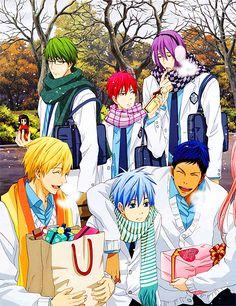 Midorima Shintarou, Akashi Seijuro, Murasakibara Atsushi, Kise Ryouta, Kuroko Tetsuya, and Aomine Daiki.