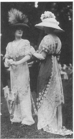 1911 walking gowns with matching lace and flower topped parasol