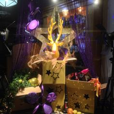 Creative and glittery window display at hairsalon. Styled and created by Rich Art Design, The Netherlands