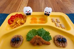 """""""For your entrée, we present a FANCY dinosaur nugget with blueberry waffles, mac and cheese, and teddy bear crackers. All FANCY."""" -My Milk Toof"""
