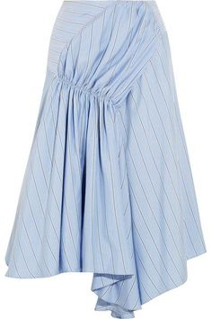 Sky-blue, gray and white silk crepe de chine Concealed hook and zip fastening at side 100% silk; lining: 71% acetate, 29% silk Dry clean Imported