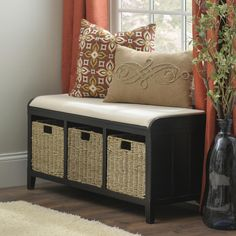 The Black Beadboard Storage Bench serves two purposes: organization and seating! Plus, the stylish beadboard panels and woven baskets provide a laid-back feel. Add one to your living room or bedroom! Kids Bedroom Storage, Ikea Bedroom, Cozy Bedroom, Master Bedroom, Bedroom Ideas, Vintage Bedroom Decor, Romantic Bedroom Decor, Kids Room Organization, Organizing Ideas