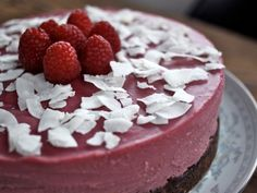 Coconut Raspberry Cheesecake (AIP-friendly!) -- Recipe by Mickey Trescott ~ The Paleo Mom