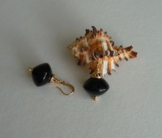 Black agate earrings by TillJD on Etsy