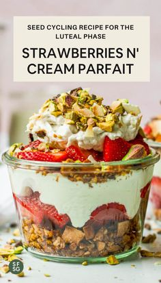 This strawberries and cream parfait is one of our many amazing fertility boosting recipes! Check out more about seed cycling for fertility and how to incorporate some delicious snacks. Fertility Food For Women, Fertility Foods, Delicious Snacks, Yummy Food, Seed Cycling, Raspberry Recipes, Hormone Balancing, Strawberries And Cream, Whole 30 Recipes