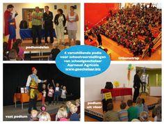 Vier verschillende podia voor goochelaar basisschool voorstelling en kindershow goochelen buikspreken: podiumdelen, tribunetrap, vast podium en podium uit vloer.
