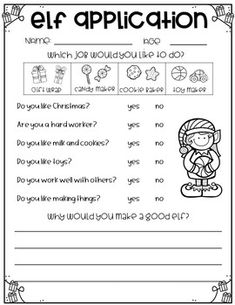 Elf Application {A Writing and Craft Activity} by Creatively Teaching First Christmas Writing, Preschool Christmas, Christmas Activities, Classroom Activities, Christmas Worksheets, 2nd Grade Writing, Teaching Time, Writing Lessons, Aba