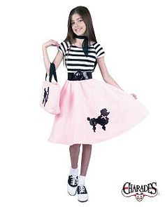 Check out Kids Poodle Skirt Costume - Girls Costumes from Anytime Costumes Girls 50s Costumes, 50s Halloween Costumes, Nerd Costumes, Wholesale Halloween Costumes, Halloween Outfits, 70s Costume, Vampire Costumes, Hippie Costume, Costume Ideas