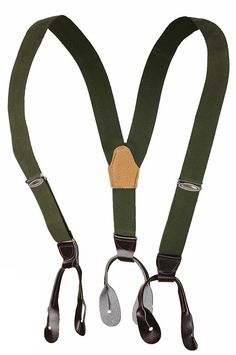 1980s Ex-Army Button Braces Suspenders Faux Leather End Green