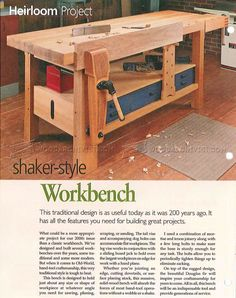 #2709 Shaker Workbench Plans - Workshop Solutions