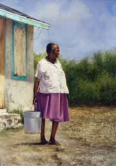 'Ms. Hanna' by Sheldon Saint. Watercolor on paper. Bahamian Sheldon Saint's subjects look like they have arrested time for their own purpose.