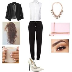 Business Casual by hayleykumagai on Polyvore featuring T By Alexander Wang, Paige Denim, Casadei, Ted Baker, Darya London and Lancôme