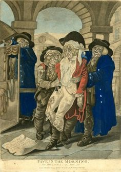 A young drunk dandy, his clothes torn and spattered, being ushered into a box-chair on the left by three members of the Watch, who grin consipiratorily towards the viewer; in the arcade of Covent Garden, with a play bill lettered 'At the Theatre Royal / Covent Garden / on Wednesday Dec 1, 1794 / The Road to Ruin'; after Dighton; from a set.  18 June 1795  Hand-coloured mezzotint with some etching