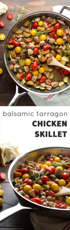 easy balsamic chicken skillet with tomatoes and tarragon balsamic ...