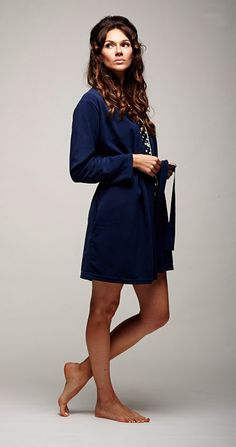 This supersoft microfleece robe is defiantly snuggly and yet... the grosgrain ribbon tie gives it elegance. The tailored sleeve gives it style. Cut to mid-thigh, is that a hint of sophistication? https://www.bluemarmaladelondon.com/shop/robes/princesse-tam-tam-igloo-robe/