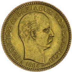 Georg I. 1863 - 1913 20 Drachmen 1884 A  Gold