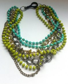 Beautiful!!! Multi Color Green Multi Layered Bead and Chain Necklace