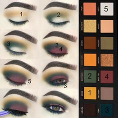 Anastasia Beverly Hills Subculture Eyeshadow Palette Look | Step by Step Green and Maroon Smokey EyeTutorial for Hazel Eyes
