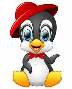 Cute penguin cartoon wearing red hat vector image on VectorStock