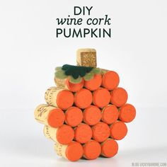 This wine cork pumpkin is super easy to make and adds a cute handmade touch to your Fall decor.